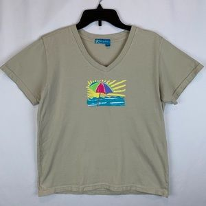 Fresh Produce Graphic V-Neck T Shirt Size Small